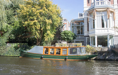 Houseboat in the canals of Amsterdam