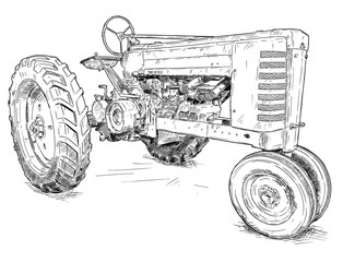 Fototapete - Vector artistic pen and ink drawing of old tractor. Tractor was made in Iowa, USA or US between 1934 and 1952 or 30's, 40's , 50's.