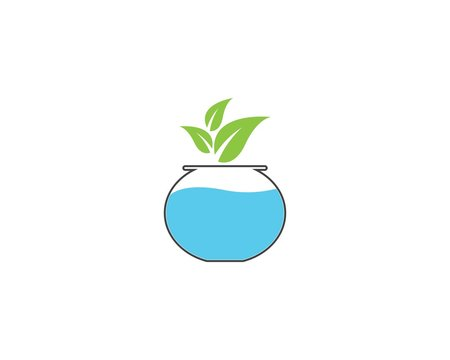 Nature aquascape icon logo vector illustration