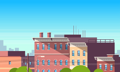 city building houses view cityscape background real estate cute town concept horizontal flat vector illustration