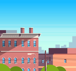 city building houses view cityscape background real estate cute town concept flat vector illustration