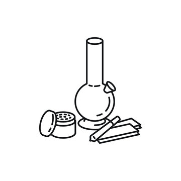Bong, grinder, joint, and rollies, marijuana accessories products vector black line art symbols on white background for commercial business medical marijuana cannabis health services website