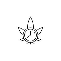 Marijuana Clock Date Event Time 420 vector black line art symbols on white background for commercial business medical marijuana cannabis health services website