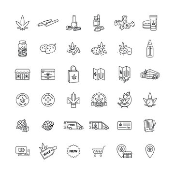 Marijuana Business and Product Icon Pack vector black line art symbols on white background for commercial business medical marijuana cannabis health services website