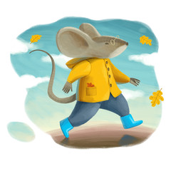 A mouse in a yellow coat and blue boots runs on the sky blue background