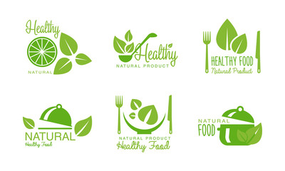 Healthy natural product logos set, green labels, badges for eco, organic, vegan, raw, healthy food vector Illustration on a white background