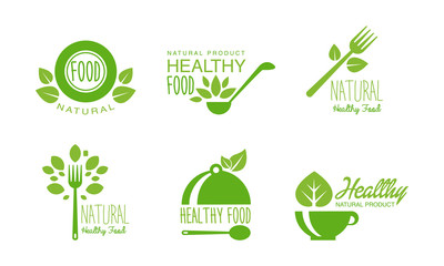 Healthy natural product logos set, green labels for eco, organic, vegan, raw, healthy food vector Illustration on a white background