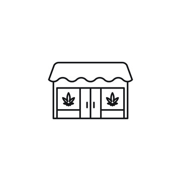Dispensary Store Building vector black line art symbols on white background for commercial business medical marijuana cannabis health services website