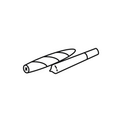 Joint and Blunt Rollies, Spliff, Pre-rolls vector black line art symbols on white background for commercial business medical marijuana cannabis health services website