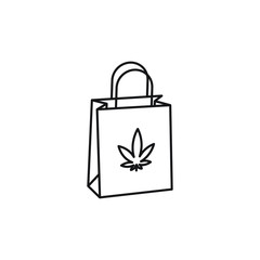 Shopping Bag vector black line art symbols on white background for commercial business medical marijuana cannabis health services website