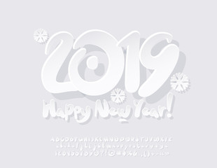 Vector Snow White Modern Greeting Card Happy New Year 2019. Artistic set of contemporary Alphabet letters, Symbols and Numbers. Creative kids Font.