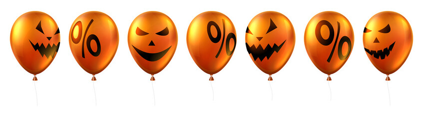 Orange balloons with scary faces and percent isolated on white. Halloween sale.
