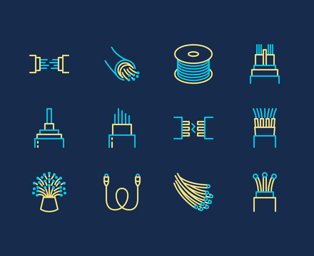 Optical fiber flat line vector icons. Network connection, computer wire, cable bobbin, data transfer. Thin signs for electronics store, internet services.