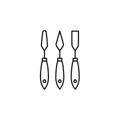 Black & white vector illustration of paper spatula set. Line icon of hand tools for craft, scrapbook & diy projects. Isolated on white background