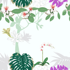 Seamless pattern, background. with tropical plants and flowers.