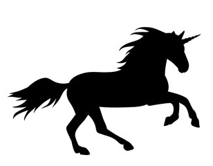 on white background, black silhouette of running unicorn