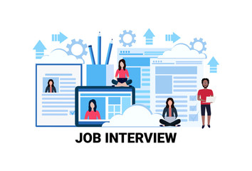 Curriculum vitae recruitment candidate job interview position cv profile resume business people hire flat horizontal vector illustration