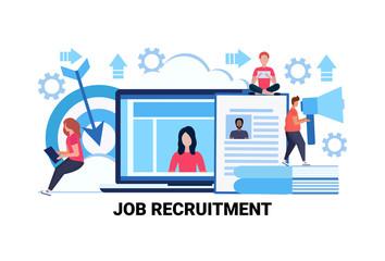 Curriculum vitae recruitment candidate job position cv profile resume business people hire flat horizontal vector illustration