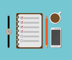 Notebook with a cup of coffee, a smartphone and a clock