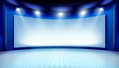 Show on the stage. Projection screen. Vector illustration.