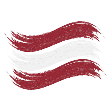Grunge Brush Stroke With National Flag Of Latvia Isolated On A White Background. Vector Illustration. Flag In Grungy Style. Use For Brochures, Printed Materials, Logos, Independence Day