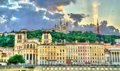 View of the Lyon Cathedral and the Basilica of Notre-Dame de Fourviere. Lyon, France