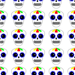 Vector illustration. Seamless pattern. Day of the dead. Dia de los muertos icons on white background. Set of colourful sculls. Halloween texture, background.