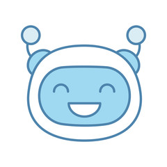 Laughing robot emoji color icon