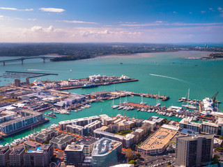 Auckland harbour aerial view