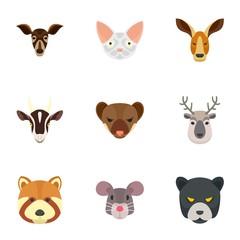 Zoo animal icon set. Flat set of 9 zoo animal vector icons for web design