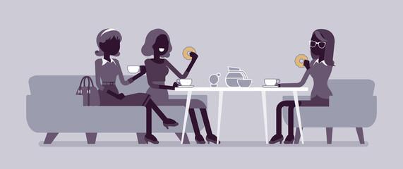 Girls enjoy friendly dinner in cafe