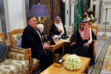 Saudi Arabia's King Salman bin Abdulaziz Al Saud meets with U.S. Secretary of State Mike Pompeo in Riyadh