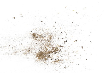 Soil, dirt dust pile isolated on white background, top view