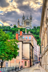 View of the Basilica of Notre Dame de Fourviere in Lyon, France