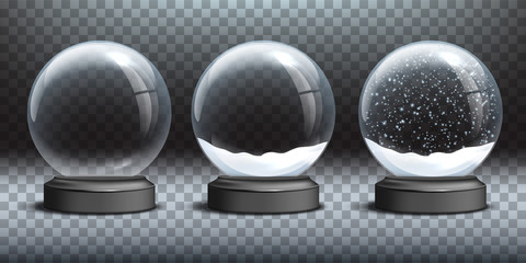 Snow globe templates. Empty glass snow globe and snow globes with snow on transparent background. Vector Christmas and New Year design elements.