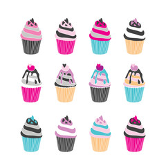 Set of 12 cute cupcakes isolated on white background