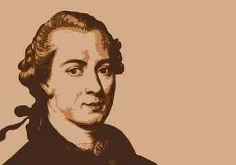 Portrait de Kant, célèbre philosophe et écrivain allemand du 18ème siècle