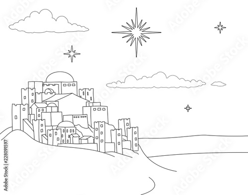 """""""A Christmas nativity coloring scene cartoon, with the ..."""