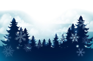 Silhouette Christmas evergreen trees against a winter sky scene with snow falling and snowflakes footer background