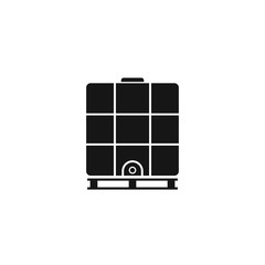 Ibc container silhouette icon. Intermediate Bulk Container. Clipart image isolated on white background