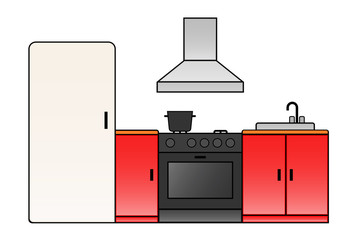 Kitchen room icon. Clipart image isolated on white background