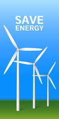 Save energy wind turbine plant concept background. Realistic illustration of save energy wind turbine plant vector concept background for web design