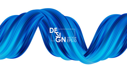 Vector illustration: Modern abstract banner background with 3d twisted blue flow liquid shape. Acrylic paint design.