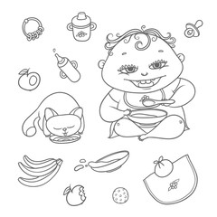 Vector set happy child and kitten eat. Chubby curly kid eating porridge and cat drinking milk or water. Flat black color sketch contour illustration apples, bananas, mush and other baby food.