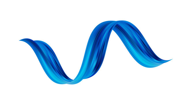 Vector illustration: 3d twisted blue flow liquid shape. Acrylic paint sroke. Modern design.