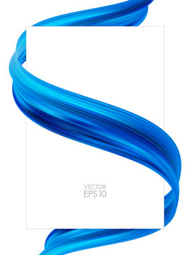 Modern abstract blank poster background with 3d twisted blue flow liquid shape. Acrylic paint design