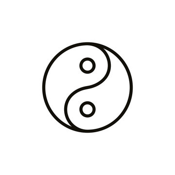 Yin and yang symbol outline. Clipart image isolated on white background