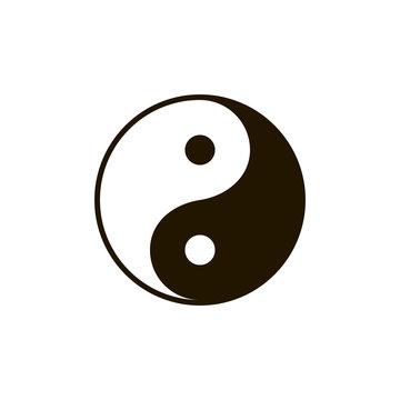 Yin and yang symbol silhouette. Clipart image isolated on white background