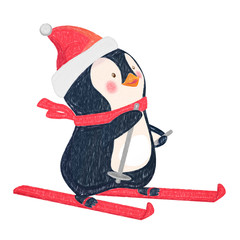 penguin on skis