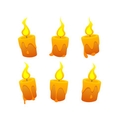 set of cartoon candles on white background